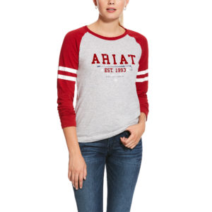 Ariat Girls Logo Flock Long Sleeve T-Shirt Laylow Red