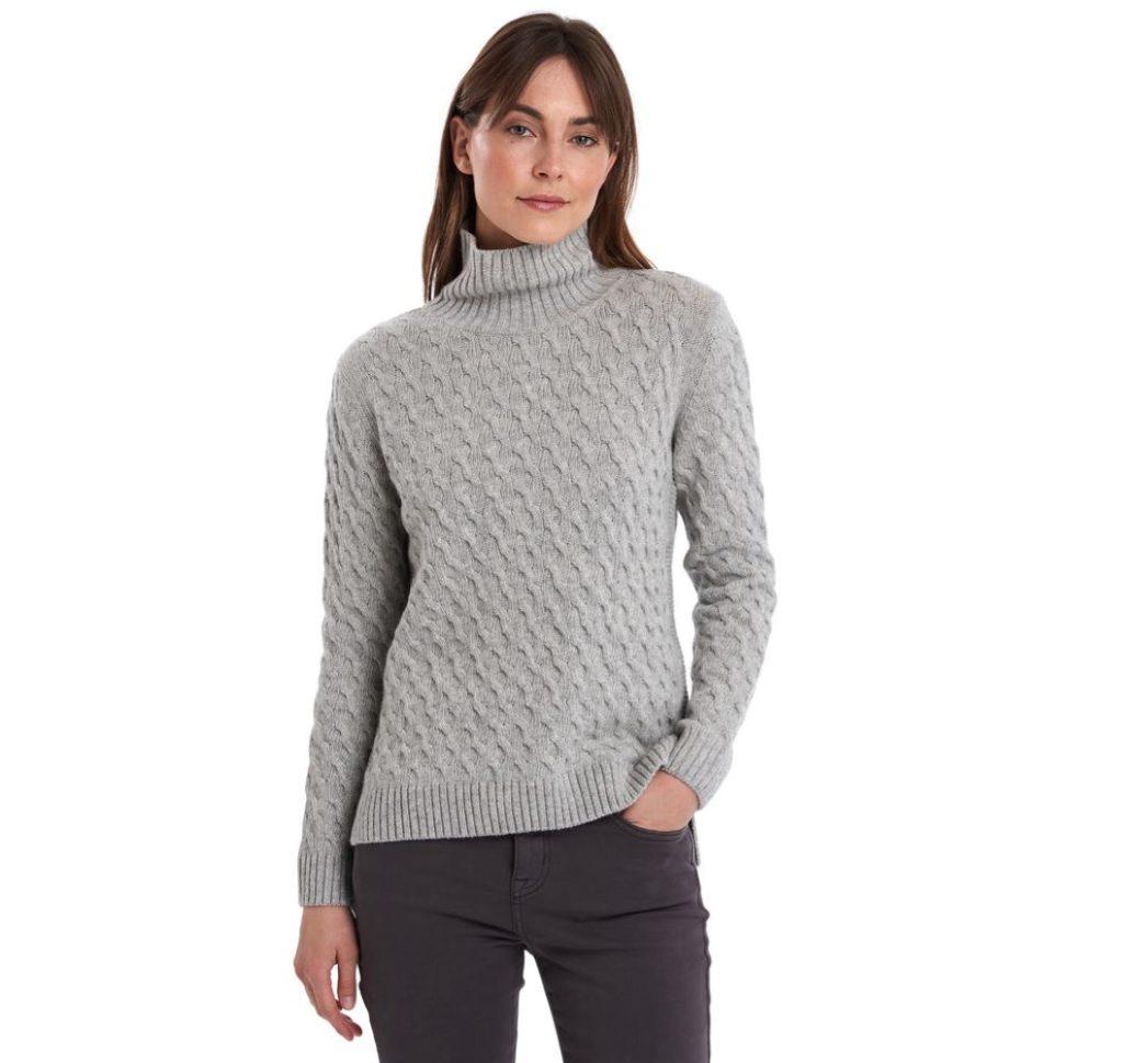 Barbour Burne Knit Light Grey