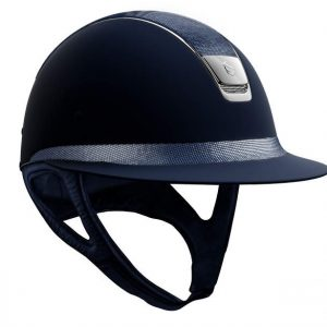 Miss Shield | Shadowmatt Blue | Shimmer Leather Top & Frontal Band | Small Shell | Chrome Trim & Blazon | 56S
