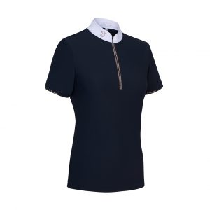 Samshield Aloise Short Sleeved Show Shirt Crystal Fabric Navy/Rose Gold Large